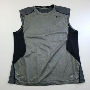 Nike Mens Gray and Black Sleeveless Shirt Size XL